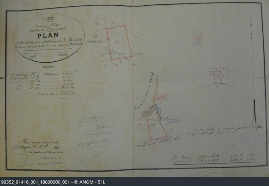 Plan du cadastre de la concession accordée à Guillaume BERNÈDE à Ouled Abbès